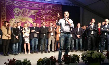 Matteo Salvini a Treviso davanti a una folla in delirio