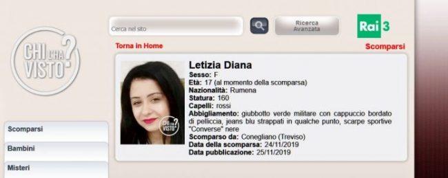 Scomparsa da Conegliano: mistero sulla sorte di Letizia Diana