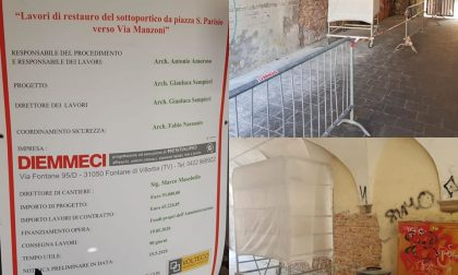 Sottoportico di piazza Parisio deturpato, iniziati i lavori di riqualificazione