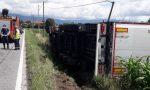 Incidente Fonte, camion fuori strada: intervengono i Vigili del fuoco