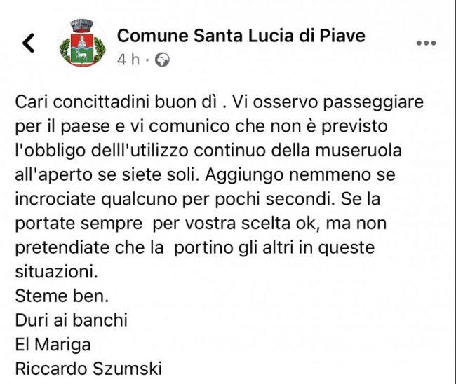 """Obbligo mascherine all'aperto, Szmuski: """"Cittadini, non servono le museruole!"""""""