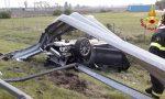 Paurosa carambola in A27, l'auto finisce rovesciata fuori strada: 36enne miracolato
