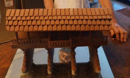 """La versione """"dolce"""" del Ponte degli Alpini di Bassano: realizzata in cioccolato da una pasticceria trevigiana"""