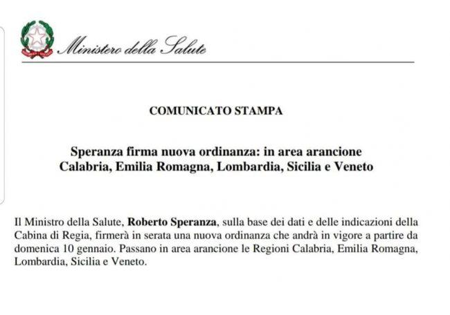 Veneto zona arancione da domenica: firmata l'ordinanza!