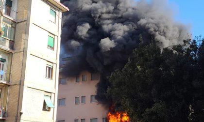 Impressionante colonna di fumo nero a Treviso, le foto dell'incendio sotto il portico