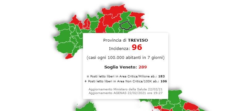 In Veneto situazione stazionaria, Treviso ampiamento sotto la soglia critica