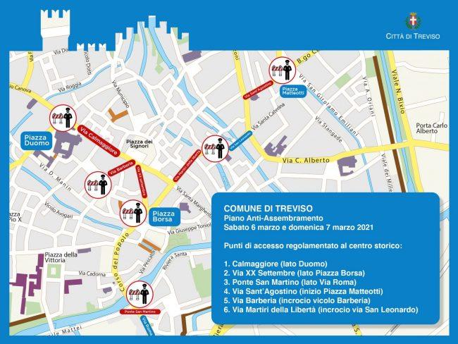 Piano anti assembramenti, a Treviso check point per regolare i flussi di persone in centro storico
