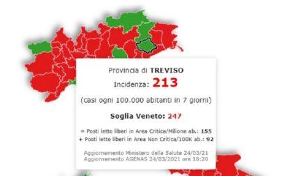 Incidenza contagi Covid, Treviso e provincia sotto la soglia: non è da zona rossa