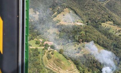 Incendio in un bosco del trevigiano
