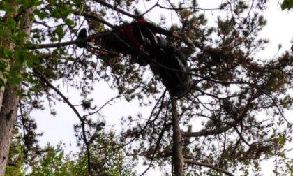 Il volo del parapendio finisce tra gli alberi: pilota resta sospesa a dieci metri d'altezza
